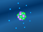 Image: a neon atom with its protons, neutrons and electrons